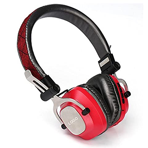 Metal Bluetooth Headset With Radio Card Player Function Caller ID , red