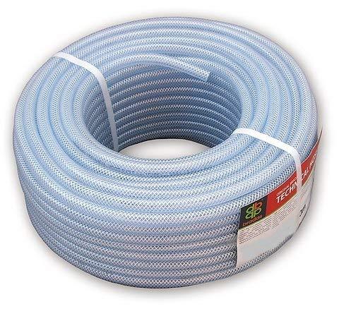 Bradas TH062 Industrie PVC- technischer Schlauch mit Gewebeeinlage, 50 m lang, Innendurchmesser 6 mm, Wandstärke 2 mm, Transparent, 30x30x15 cm
