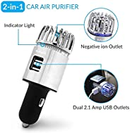 Car Air Purifier, Ionizer Deodorizer and Ionic Air Freshener with Dual USB Charger| Remove Dust, Pollen, Smoke