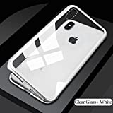 Amozo Armor Shock Proof Luxury Magnetic Adsorption Metal Bumper Case With Tempered Back Case Cover For IPhone X (iPhone 10) (White)
