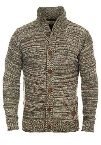 SOLID Mahir Herren Strickjacke Cardigan Grobstrick mit Stehkragen aus 100% Baumwolle Meliert Duffel Bag Green