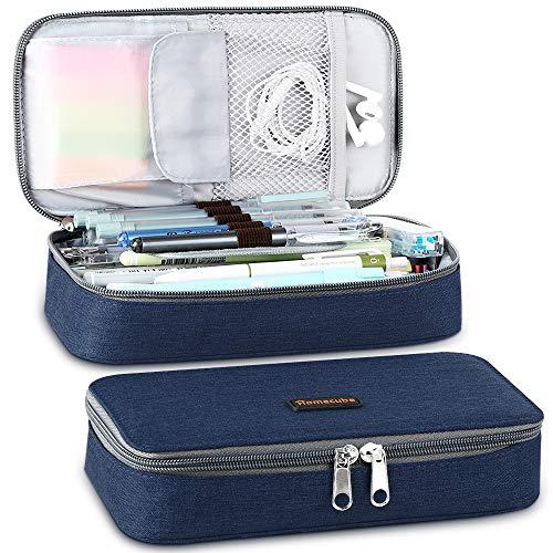 Homecube Federmäppchen,große Kapazität Mäppchen Stifthalter Praktische Studenten Schreibwaren mit zwei Reißverschlüssen Langlebig(Marineblau)