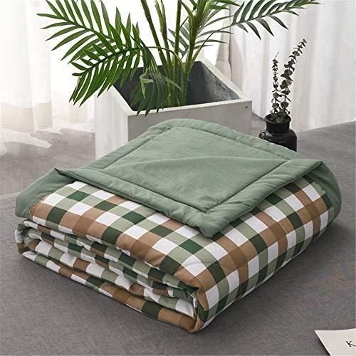 L&SH Sommerkühle Bettdecke, Hautfreundlicher Sommer, Gewaschene Baumwollsommerkühlsteppdecke, Gestreifte Gute Klimaanlagensteppdecke (Green,200 * 230cm)