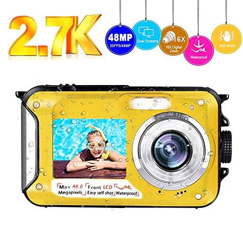 Unterwasserkamera wasserdichte Kamera Full HD 2.7K 48MP Selfie Dual Screens Unterwasser Kamera 16X Digitalzoom Unterwasserkamera Digital Wasserdicht zum Schnorcheln
