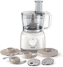 Philips HR7627/02 Küchenmaschine (650 Watt, inkl. Knethaken, 2 Geschwindigkeiten) weiß