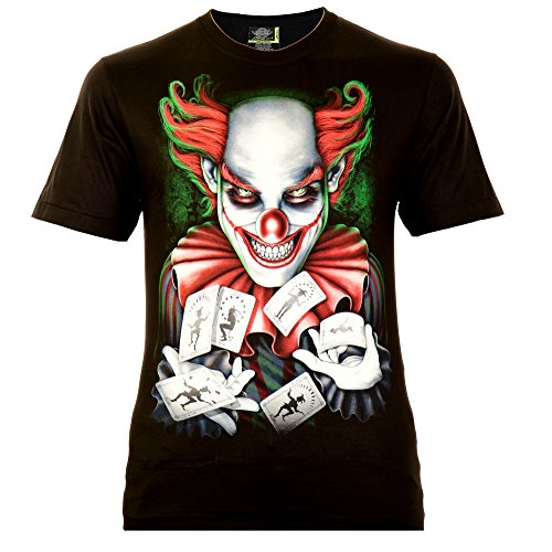 Classic Wear Rock Eagle International Good Luck Joker Herren T-Shirt Schwarz Gr. XL Glow in The Dark
