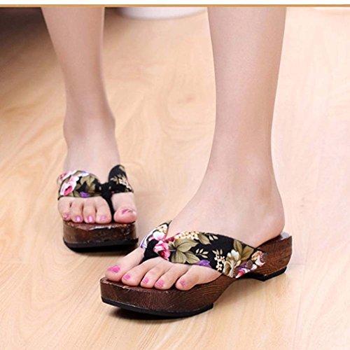 Transer ® Mode femmes plate-forme bois sandales saboter tongs en bois Noir