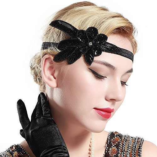 BABEYOND 1920s Stirnband Damen 20er Jahre Stil Haarband Gatsby Kostüm Accessoires (Schwarz) - 2