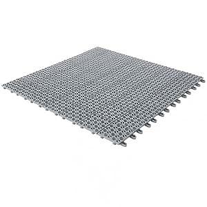 Piastrelle Flessibili in Plastica 55,5 x 55,5 cm da Interno, Esterno e Giardino, Grigie, Drenanti e Autobloccanti PEZZI 4