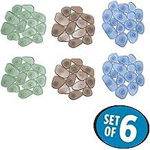 mDesign Alfombra de baño antideslizante – Pack de 6 antideslizante bañera– Bonito diseño y máxima seguridad – Colores varios – Accesorios de baño