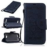 ZeWoo Für Huawei Y3 2nd Generation (4.5 Zoll) Tasche Ledertasche Kunstleder Brieftasche Hülle PU Leder Schutzhülle Case Cover - BF071 / Marineblau Bär