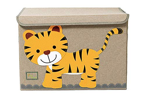 YoungShoots TruReey Grande cassapanca per Bambini, con Coperchio, Contenitore per Giocattoli Pieghevole e Robusto (Tiger)