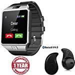 100% Compatible Bluetooth Smart Watch Phone With Camera and Sim Card Support With Apps like Facebook and WhatsApp Touch Screen Multi language Android/IOS Mobile Phone Wrist Watch Phone with activity trackers and fitness band features compatible with ...