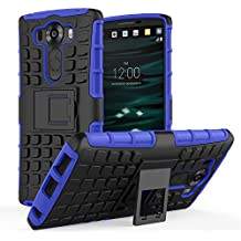 LG V10 Funda - MoKo Heavy Duty Rugged Dual Layer Armor with Kickstand Protective Funda para LG V10 5.7 Inch Smartphone 2015 Release, Azul