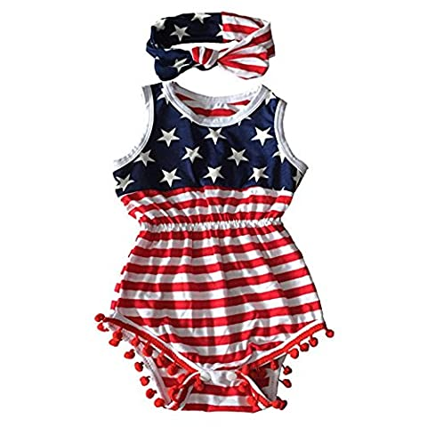 tianfuheng Newborn Baby Girl Cotton American Flag Romper 4th of July Jumpsuit + Headband Outfit Set -