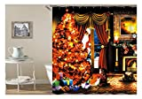 Bishilin Antischimmel 3D Duschvorhang 165x180 Weihnachtsbaum Mädchen Hund Lustiger 3D Duschvorhang
