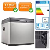 XXL Edelstahl Kühlbox mit 230V und 12V Anschluss - 42L Fassungsvermögen, Energieeffizienzklasse A+ - Hybrid Kühlsystem: Kompressorsystem + Thermoelektrisch