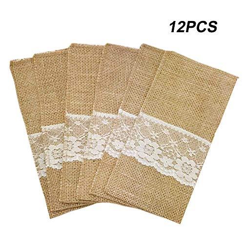Lot de 12 (Une douzaine) supports d'ustensiles en toile de jute naturel AmaJOY - 10,2 x 20,3 cm - couverts - serviettes de table - supports de couteaux, fourchettes, décorations de table