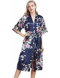 VERNASSA Ropa Pijama,Satén Kimono Pavo real Albornoces,3/4 Manga Estampado Camisón Bata, Multicolor