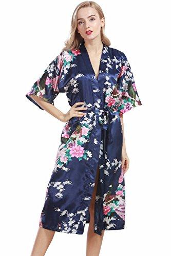 VERNASSA Damen Pfau Robes Silk Satin Flora Lange Nachtwäsche, Batwing Ärmel Kimono Nachthemd, Pyjamas Lingerie Dessous set für Hochzeitsfeier Geschenk, Übergröße & Mehrfarbig (Navy Satin Pyjama)