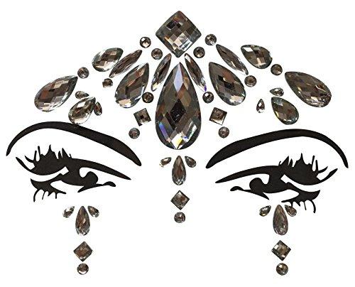 Gesicht und Körper Juwelen Edelstein Aufkleber Glitter MAKE-UP für Party Festival Shows und Bühnenauftritte BFG1807 klare Steinchen (Körper Juwel Kleben)