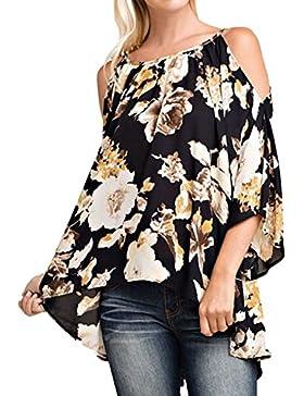 StyleDome Mujer Camiseta Blusa Floral Estampada Cuello Halter Mangas Largas Elegante Oficina Casual