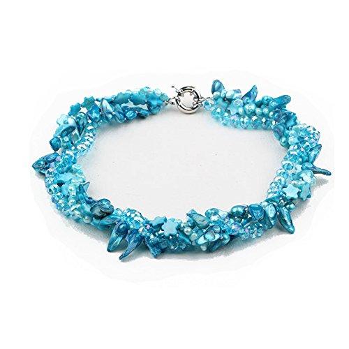 """brins multiples chunky perle d'eau douce, perles de cristal et perles de coquillage bleu quatre brins torsadés collier pour femmes longueur 48cm / 18,5 """""""