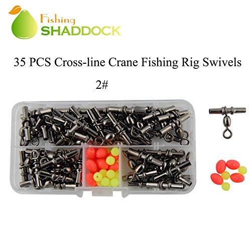 Shaddock pesca® 35pcs/box nero ottone Pesca Barrel girevole Crossline Rig girevole Pesca girevole Crimp connettore Terminale per pesca alla carpa tackle accessori, 2#-35pcs/box