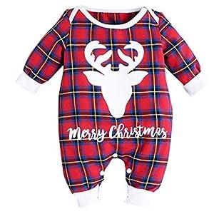 cinnamou Conjuntos Bebe NiñA 3Pcs, Pijama De Navidad Tops Estampado De Letras Mameluco De Cuello Redondo Manga Larga… 8