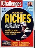 Telecharger Livres CHALLENGES No 205 du 10 07 2003 LE NORD UNE TERRE A RICHE ORIANNE GARCIA DE CARAMAIL A LYCOS LA VERITE SUR LES EX FORTUNES DU NET PALMARES 2003 RICHES LES 500 FORTUNES PROFESSIONNELLES LES ENTREES LES SORTIES LES PLUS BELLES PERFORMANCES ENQUETE A MOUSTIQUE L ILE DES MILLIARDAIRES (PDF,EPUB,MOBI) gratuits en Francaise