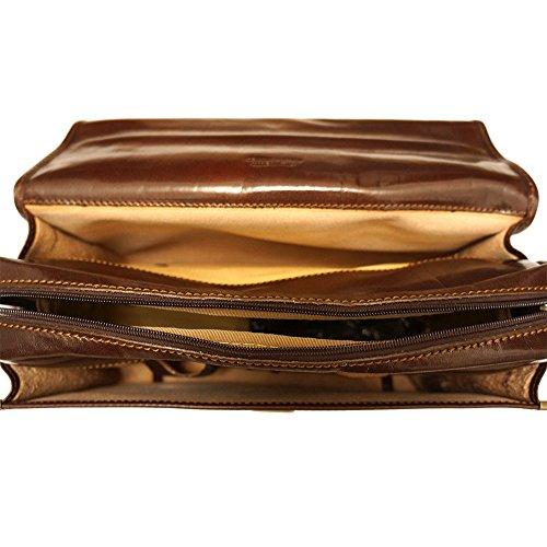 Cartable Porte-document Serviette bandoulière porte notebook en cuir avec 3 compartiments 7615 Marron foncé