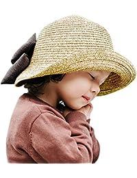 ARAUS Sombreros de Paja de Sol Playa Gorra de Bola Ala Ancho Protector  Visera de Verano para Niñas Chicas 2… a4bfa0b3cb1