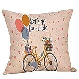 Dekorative Kissenbezug Hevoiok Fahrrad Love Muster Kissenüberzug Sofakissen Abdeckungs Frühling Bett Kissenhülle 45 x 45 cm (F)