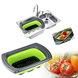 Candora 3.8L large Capacity Collapsible Silicone Colander/Strainer Elastic Compact Kitchen Sink Strainers Basket BPA-free (Green)