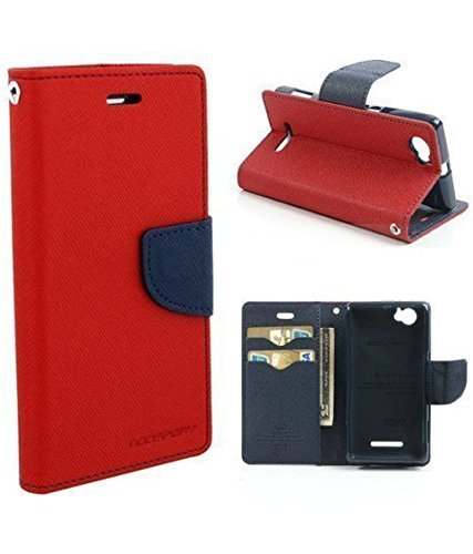 Mercury Goospery Fancy Diary Wallet Flip Case Leather Cover for Lenovo A369i(Red)  available at amazon for Rs.249
