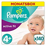 Pampers Active Fit Windeln, Gr.4+, Maxi Plus 9-18kg, Monatsbox, 1er Pack (1 x 140 Stück)