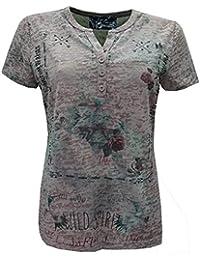 684db5f02b5a49 No Secret Damen T-Shirt Ausbrenner Knopfleiste in Beige Rose