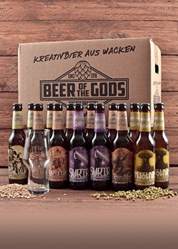 Wacken Brauerei Göttergabe Pro-BIER-Paket - 14 x Beer of the Gods inkl. Craftbeer Glas mit Logo - Craft beer Set