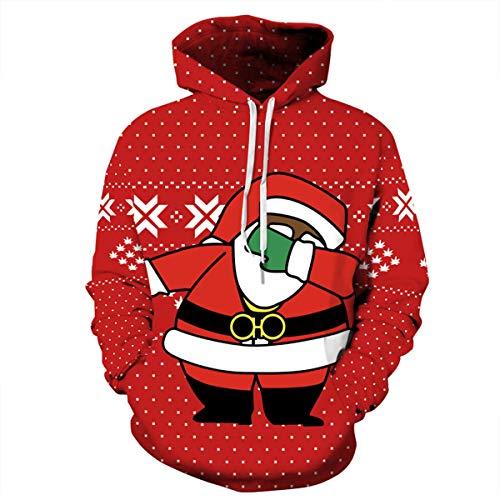 Unbekannt Weihnachts-Kostüm Hoodie, 3D HD Print Couple Pullover Hoodie, Long Sleeve Loose Mit Tasche, Lustige Weihnachts-Hoodie,XL (Lustige Ehepaar Kostüm)