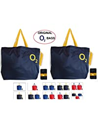 Shopping Bag Reusable Grocery Bag 1 Unit O2 Foldable Polyester Tote Long Handles Washable Large Size Heavy Duty Folds to Pocket Size Multi Color Colour School Book Travel Luggage Trolley