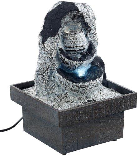 infactory Tischspringbrunnen: Zimmerbrunnen Felsenquelle mit Pumpe und LED, ca. 20 cm (Beleuchteter Zimmerbrunnen)