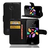 Etui LG K3 4G 4.5', Frlife| Housse Portefeuille Coque Protection pour LG K3 4G 4.5', en PU Cuir, avec Stand et Rangement Cartes, Case Cover Noir