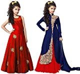 #5: Market Magic World Girl's Red & Blue Banglori Semi Stitched Combo Pack lehenga Choli, Salwar Suit, Gown (Kids Wear_Free Size_8-12 Year age)