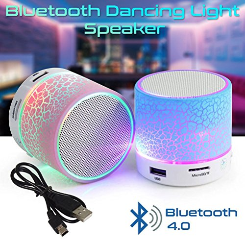 Jisen Mini LED Bluetooth Speaker Wireless Subwoofer with Colorful Light and Build-in Mic Support AUX TF for iPhone iPad and Android System Equipment