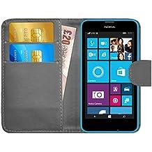 Funda Lumia 630 / 635, G-Shield Carcasa Libro de Cuero Con Tapa y Cartera [Ranuras para Tarjetas] [Cierre Magnético] Funda Billetera Case Cover Para Nokia Lumia 630 / 635 - Gris