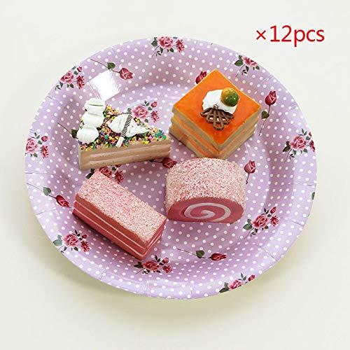 Lila Gepunktete Rose Vintage Einweg-Pappteller Tassen Gewebe Popcorn Boxen Wimpel Party Hochzeit Karneval Geschirr Liefert, 12 Stücke Platten