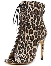 ANNIESHOE Botas Mujer Leopardo Botines Elegantes Sexy Zapatos Tacon Alto Vestir