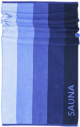Lashuma Saunatuch Helsinki | Blau - Schwarz | Hochwertiges XXL Handtuch | Badehandtuch | Strandtuch | 85 x 200 cm