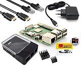 Raspberry Pi 3 Modell B+ - Full Starterkit schwarz - Bestehend aus: Neustem 2018 Raspberry Pi 3 Model B+, Micro USB Netzteil 5V / 2,5A, HAT kompatibles Raspberry Pi Gehäuse schwarz/transparent, Strontium 16GB Class 10 MicroSDHC Speicherkarte, 2,0m HDMI Kabel, 2,0m Netzwerkkabel und Kühlkörper-Set