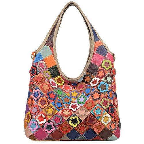 Ausverkauf-Yaluxe Damen Spring bunt Blume Rhombus echtes Leder Large Hobo Cross Body Schultertasche (Handtasche Bag Clutch Hobo Leder)